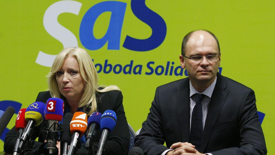 Premierministerin Radicova und SaS-Chef Sulík: Turbulente Debatte erwartet