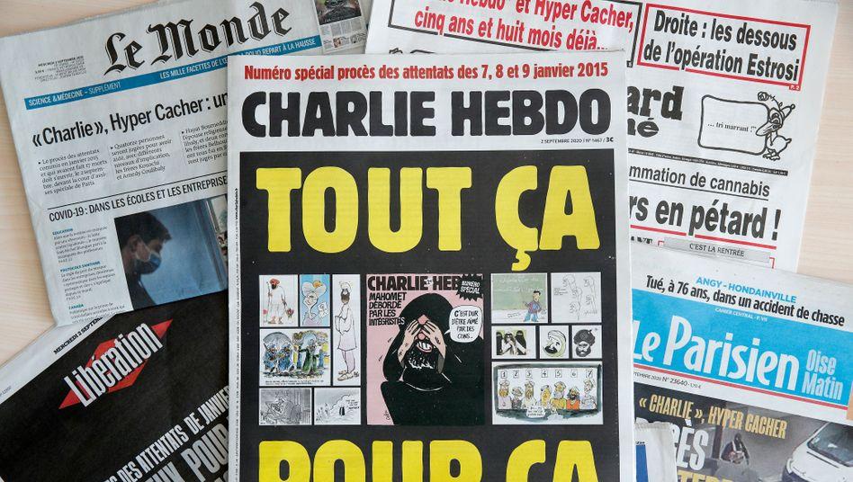 """Zum Auftakt des Prozesses hatte """"Charlie Hebdo"""" noch einmal Mohammed-Karikaturen gedruckt"""