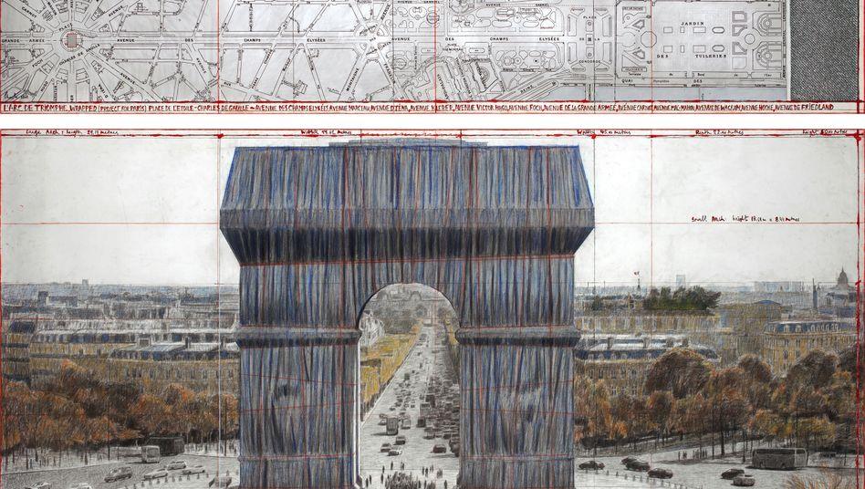 So könnte es aussehen: Eine Skizze des in Stoff verpackten Arc de Triomphe in Paris