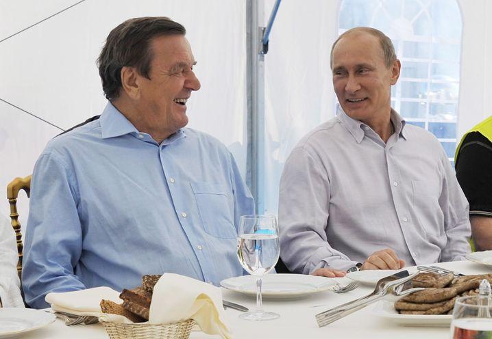Schröder und Putin 2001 bei einem Treffen bei Sankt Petersburg