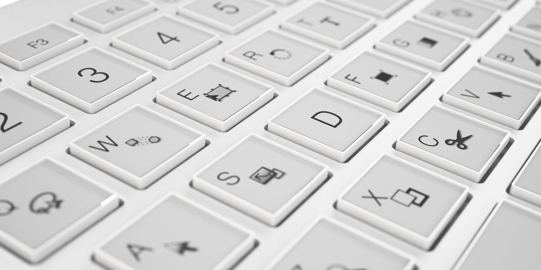 EINMALIGE VERWENDUNG neuerdings / E-Inkey Tastatur