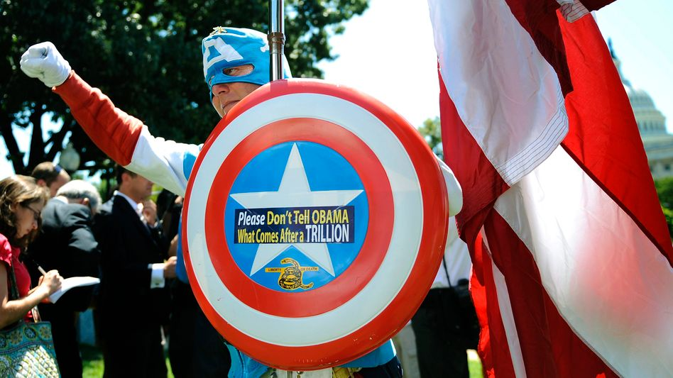 A Tea Party movement supporter dressed as Captain America at a recent rally.