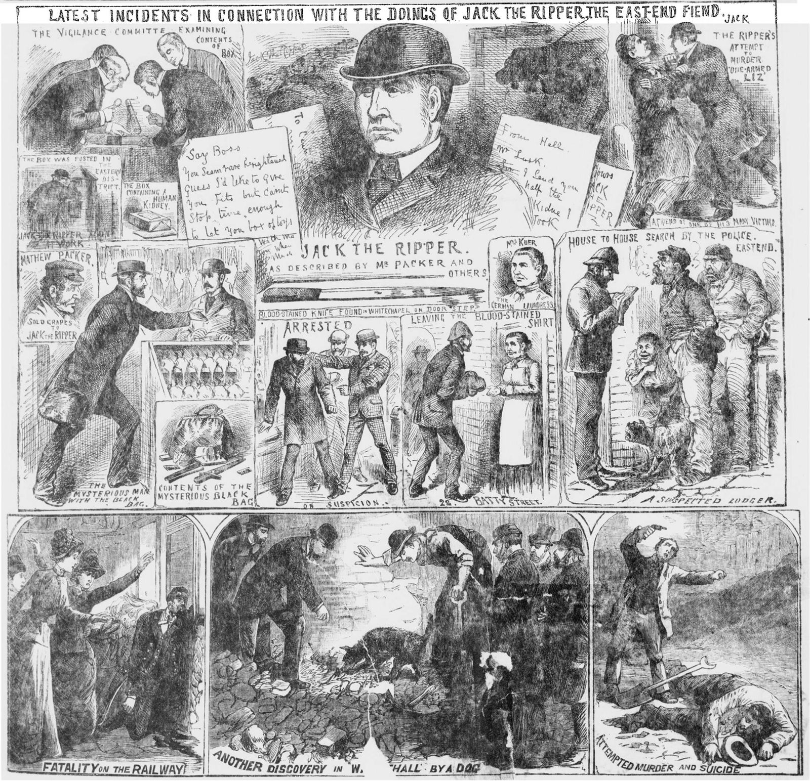 A handout photograph released in London shows Jack the Ripper murders published in the Illustrated Police News, on October 27, 1988.