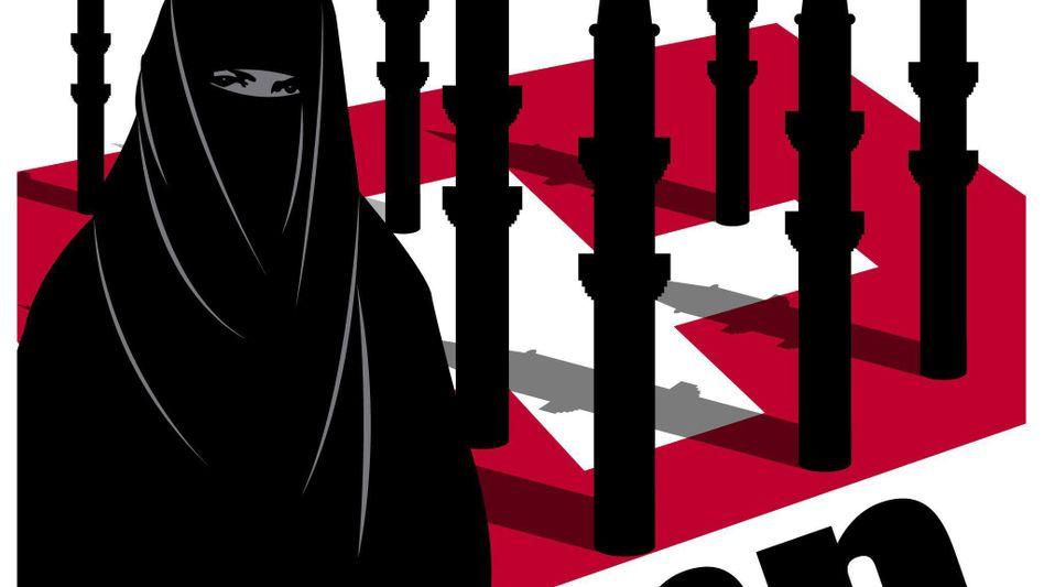"""Anti-Minarett-Plakat der schweizerischen SVP: """"Verwundbare Minderheiten"""""""