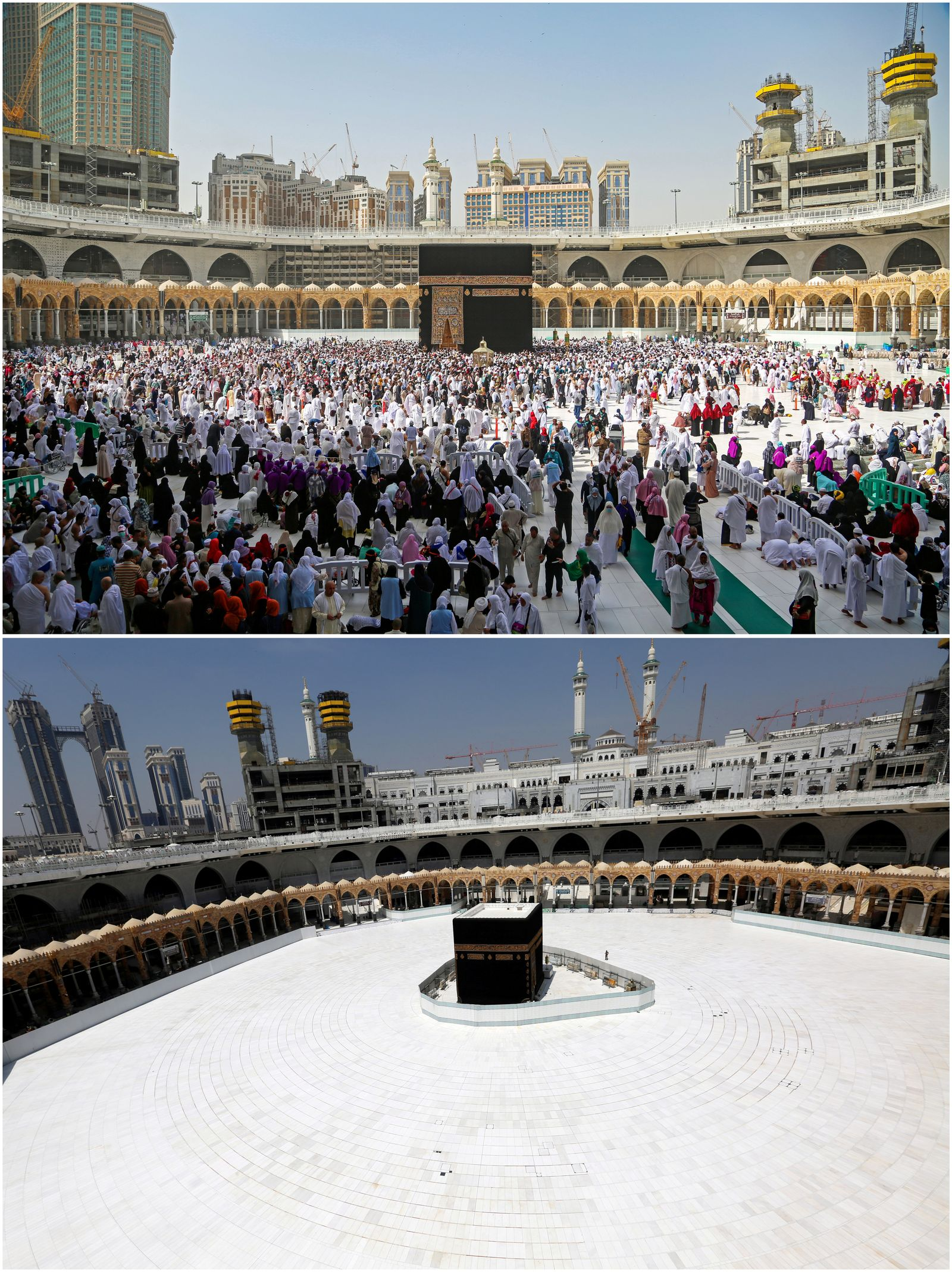 Combination photo shows Kaaba in the Grand Mosque in the holy city of Mecca