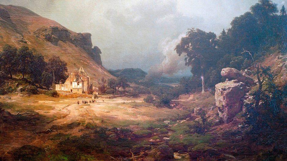 Harzlandschaft im Dreißigjährigen Krieg (Gemälde von 1855)
