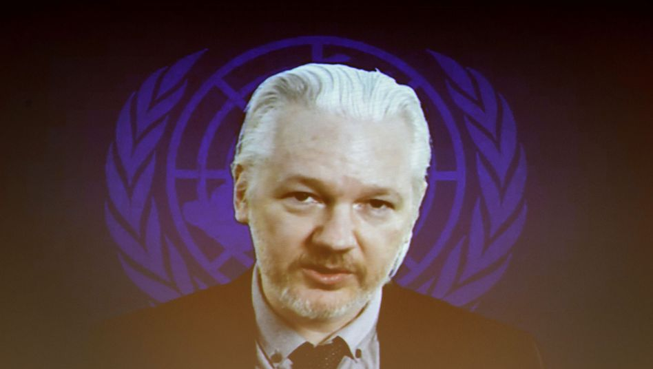 WikiLeaks founder Julian Assange speaks via video link during an event on the sidelines of the United Nations Human Rights Council session in Geneva in July.