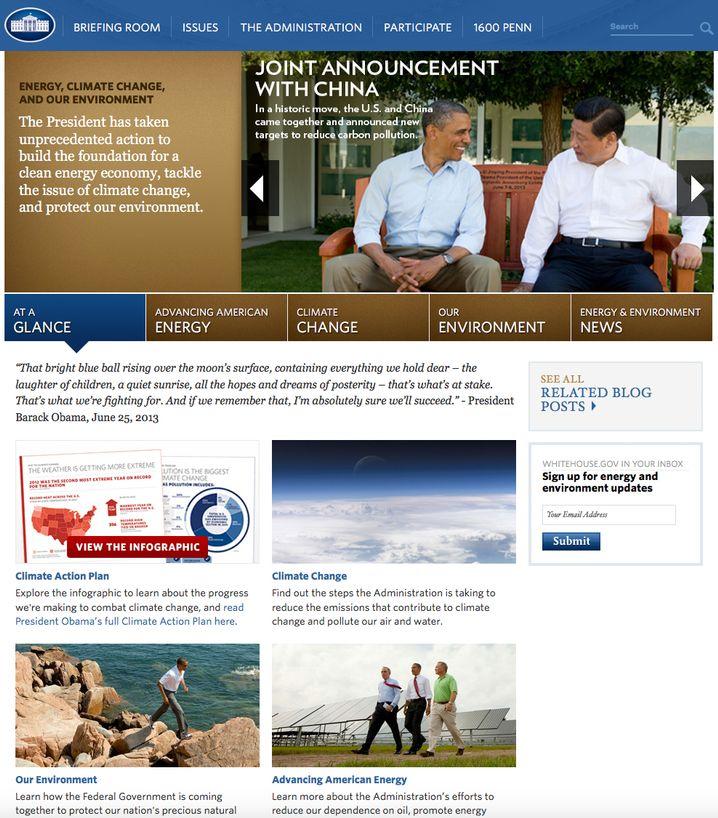 Webseite des Weißen Haus unter Obama