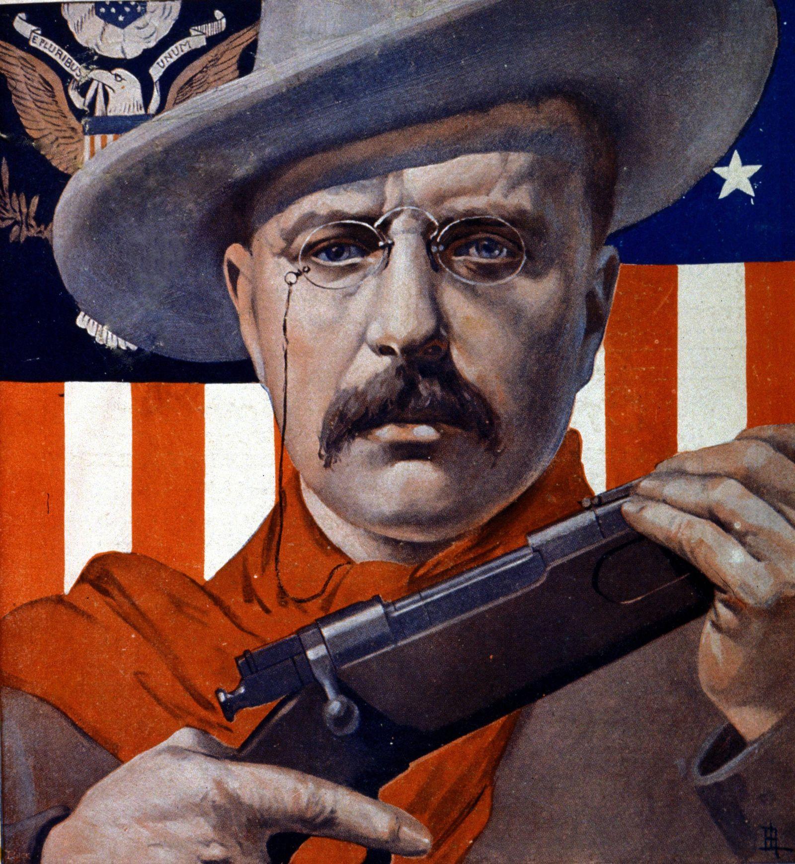 Portrait du président des Etats Unis Theodore Roosevelt avec son fusil de chasseur AUFNAHMEDATUM G