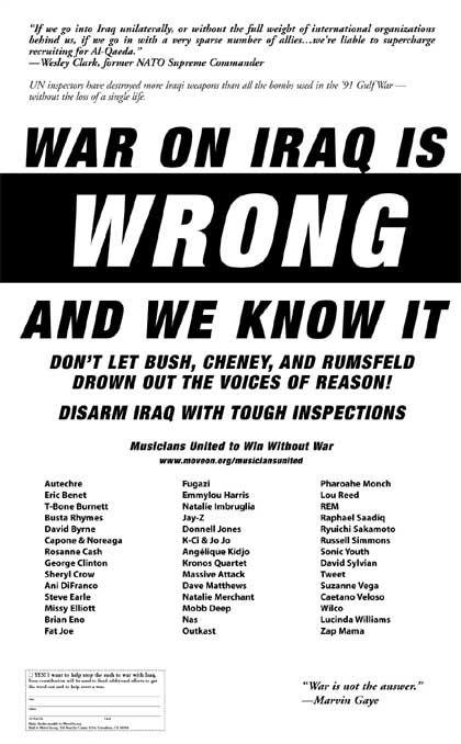 Musicians United: Künstler protestieren mit einer Zeitungsanzeige gegen den Irak-Krieg
