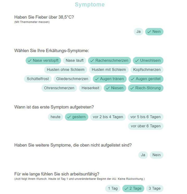 Screenshot: Einfach ein paar Symptome anklicken