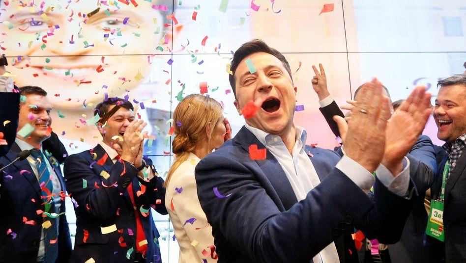 Wolodymyr Selensky direkt nach dem Schließen der Wahllokale