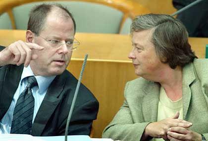 Bärbel Höhn (r.) und Peer Steinbrück: Bald immer noch Koalitionspartner?