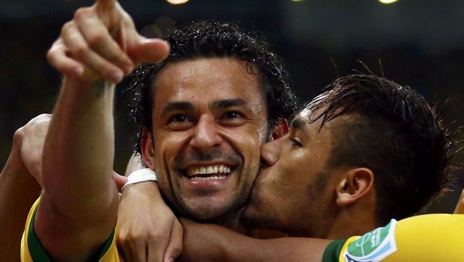 Brasiliens Matchwinner Fred und Neymar: Spanien deutlich bezwungen