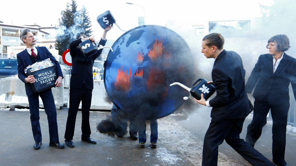 Klimaprotest während des Weltwirtschaftsforums in Davos