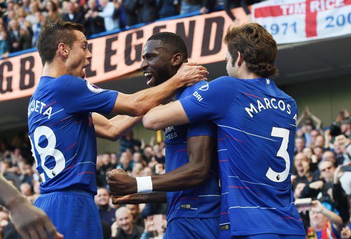 Rüdiger (Mitte) erzielte das Führungstor für Chelsea