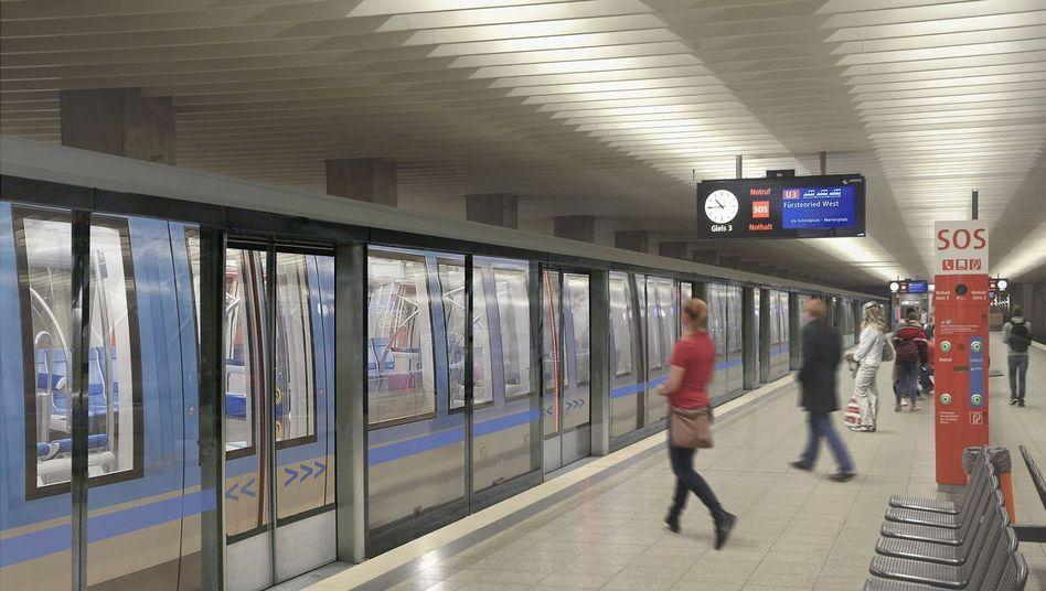 Hohe Bahnsteigtüren sollen die Münchner U-Bahn sicherer machen (Visualisierung)