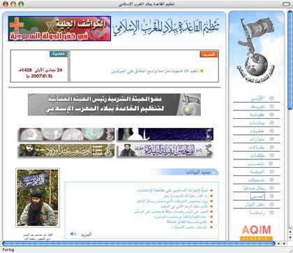 Langweiliges Design, brisanter Inhalt: AQIM ist der einzige Qaida-Ableger mit eigener Webseite.