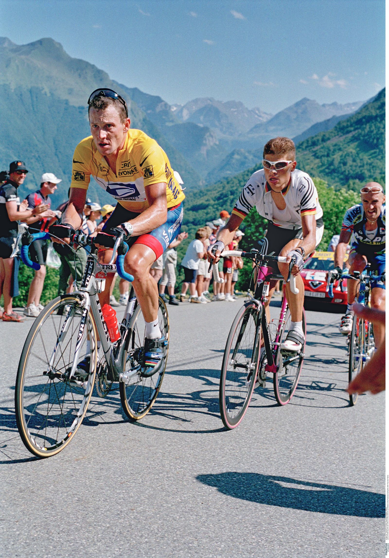 Lance Armstrong and Jan Ullrich on the climb to Luz Ardiden in the Pyrenees during the 2001 Tour de France