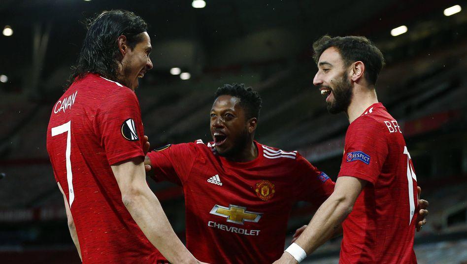 Typische Pose: Jubelnde United-Profis