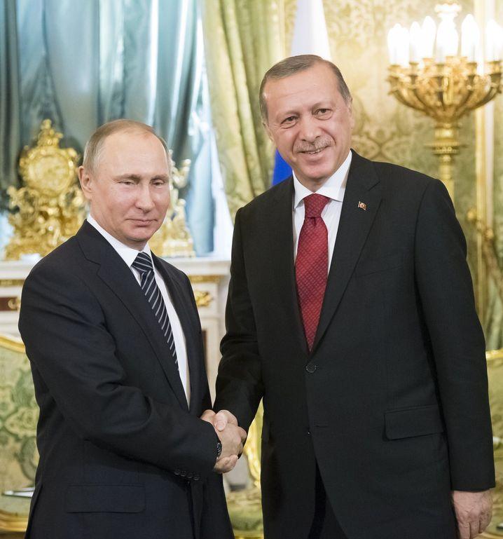 Wladimir Putin und Recep Tayyip Erdogan im Kreml
