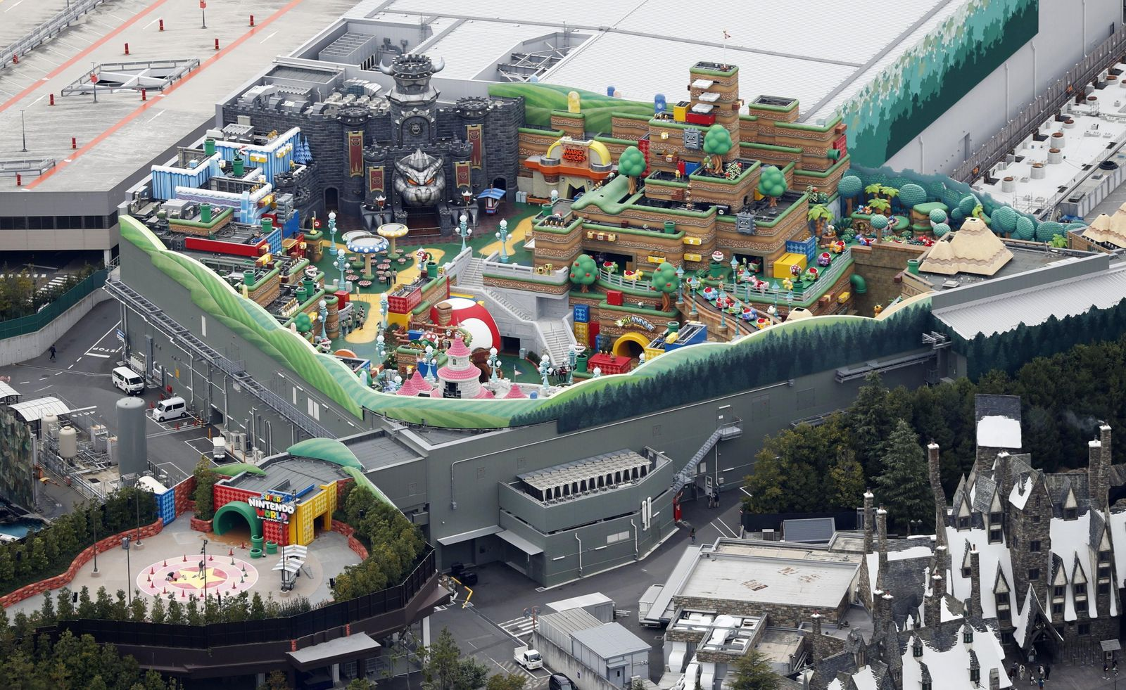 An aerial view shows Super Nintendo World at the Universal Studios Japan theme park in Osaka, western Japan