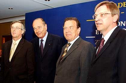 Vorreiterrolle: Juncker, Chirac, Schröder und Verhofstadt (v.l.)