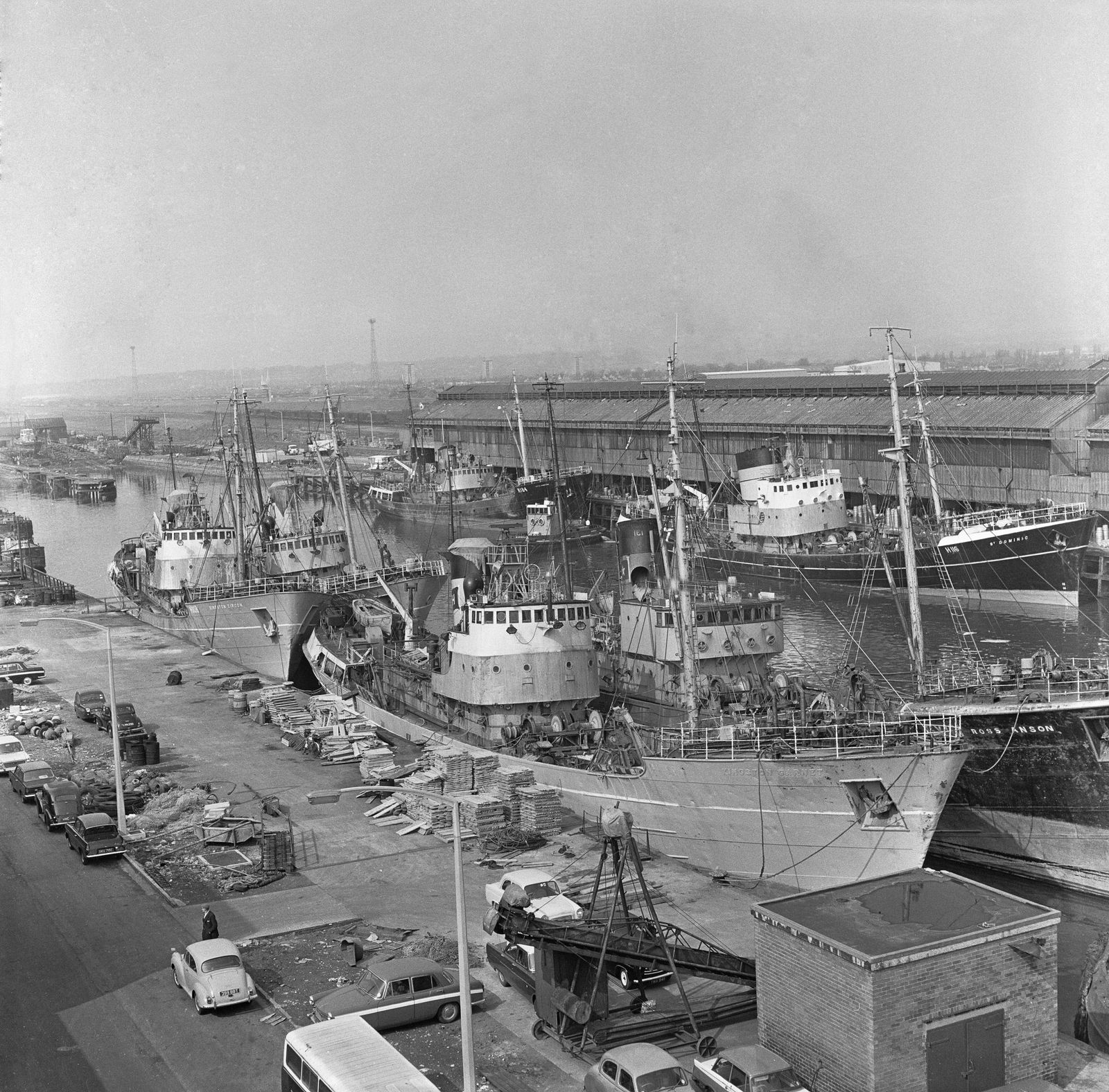 Trawlers tied up in St Andrews Dock, Hull 25th April 1968