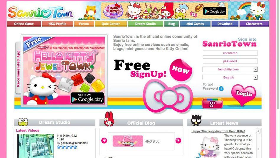 Webseite SanrioTown: Treffpunkt für Hello-Kitty-Fans