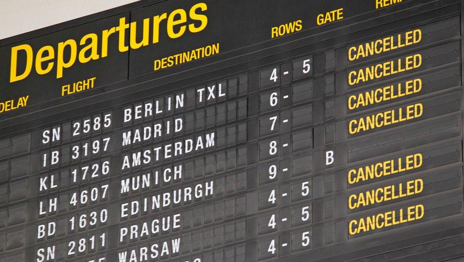 Abflugtafel im Brüsseler Flughafen: Verspätungen wären programmiert