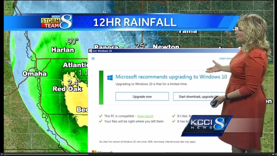Meteorologin Metinka Slater vor Windows-10-Fenster