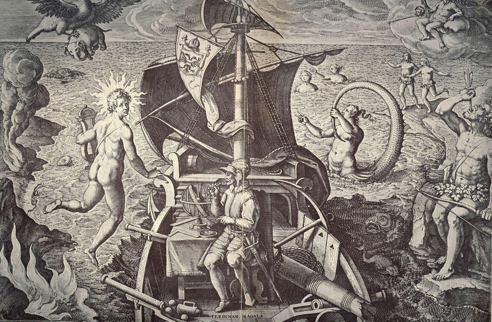 Ferdinand Magellan c1480 1521 on his ship Victoria Allegorical celebration of the first voyage o