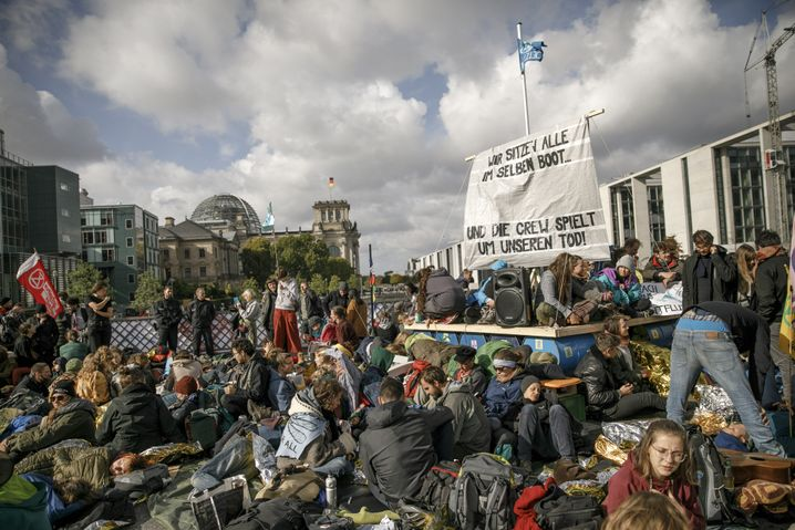 An Extinction Rebellion protest in Berlin's government district in October