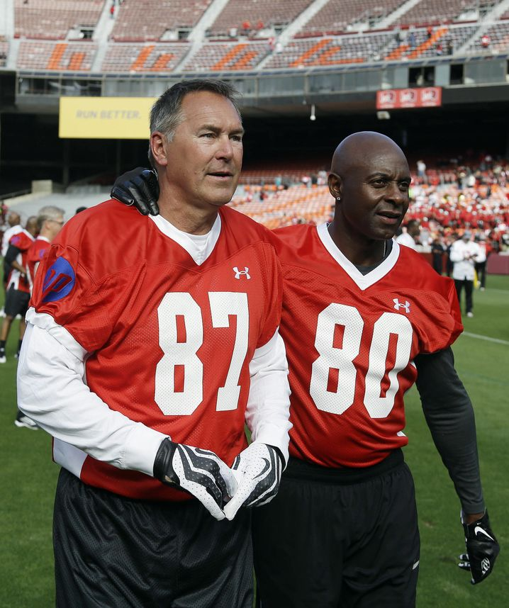 Dwight Clark (l.) neben Jerry Rice, 2014