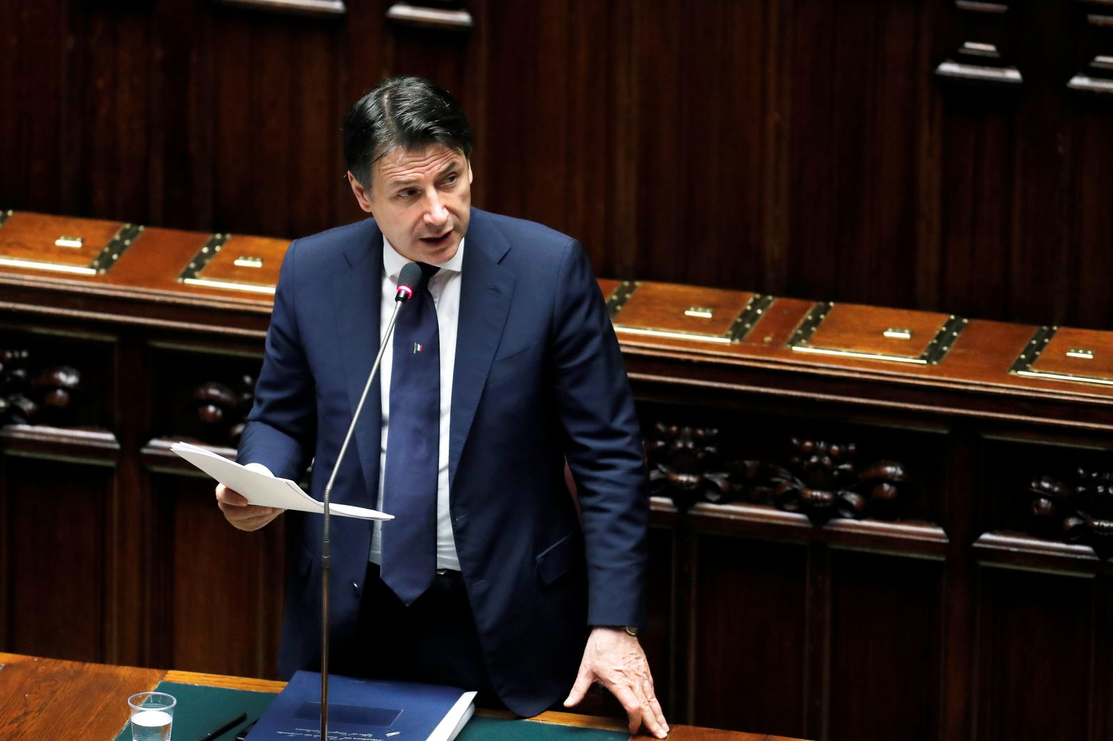 Italian Prime Minister Giuseppe Conte addresses the lower house of parliament on the coronavirus disease (COVID-19) in Rome