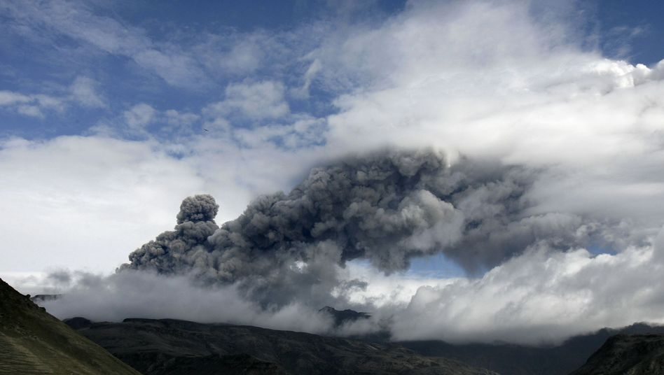 A plume of ash rising from a volcano erupting under the Eyjafjallajökull glacier on May 5, 2010.