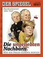 """The illustration on the cover of this week's SPIEGEL offers what it hopes will be seen as a """"politer"""" hommage on the Wprost cover featuring Gerhard Schröder."""