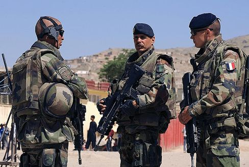 Archive photo showing French soldiers with the NATO-led International Security Assistance Force (ISAF) on patrol in Kabul in May.