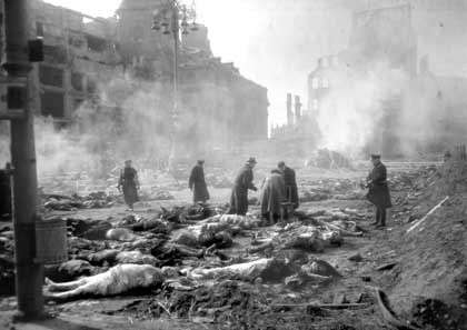 Many of the tens of thousands of dead from the bombing raid were burned in the city's central square following the attack.