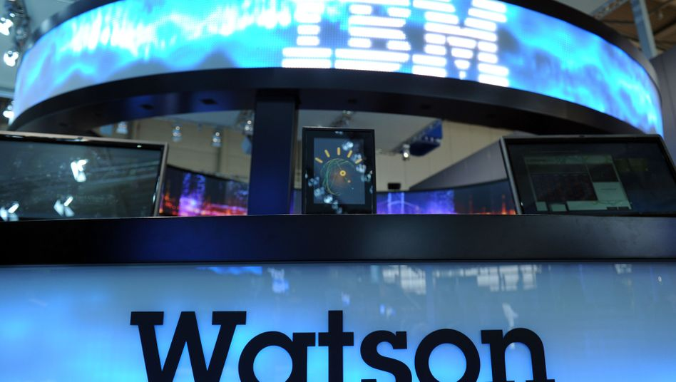 An ad for IBM's Watson computer at the Hannover Messe trade fair