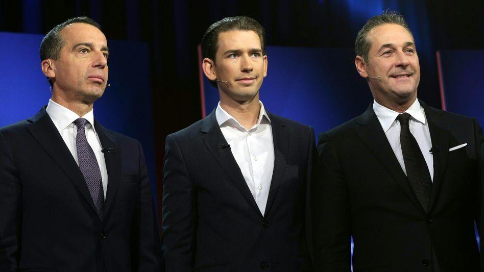 Österreichs Kanzlerkandidaten Christian Kern, Sebastian Kurz und Heinz-Christian Strache (v.l.n.r.)