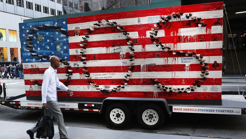 A rolling art installation commenting on the state of politics in America sits in Manhattan.