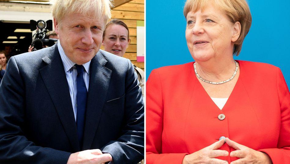 Boris Johnson, Angela Merkel (Archivfotos): Der Kanzlerin sind die Hände gebunden