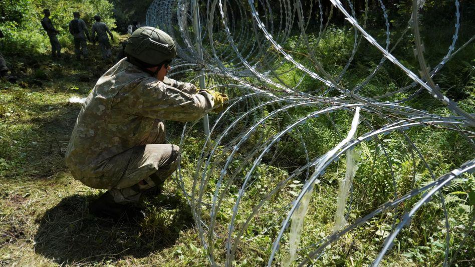 Ein litauischer Soldat am Stacheldraht-Zaun an der Grenze zu Belarus