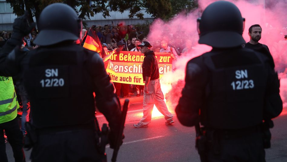 Demonstration in Chemnitz am 27. August