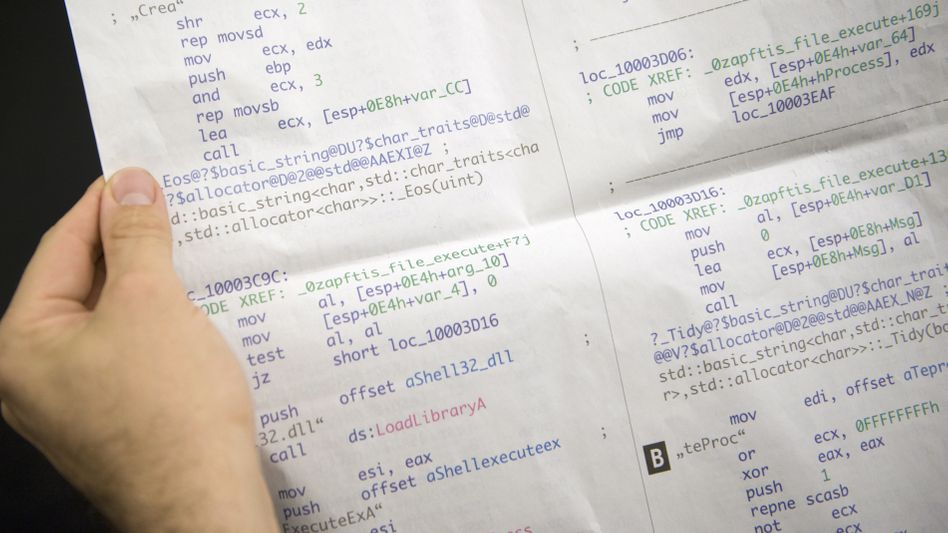 Sunday's edition of the Frankfurter Allgemeine Sonntagszeitung newspaper devoted five pages to printing part of the Trojan horse's source code.