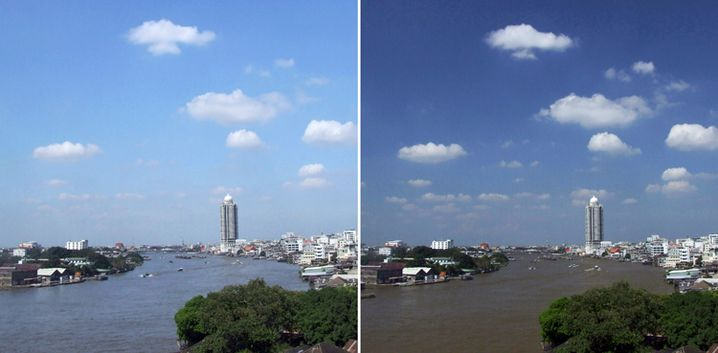 Blauer Himmel: Der Polfilter betont im rechten Bild den Himmel und schluckt die Spiegelung im Wasser.