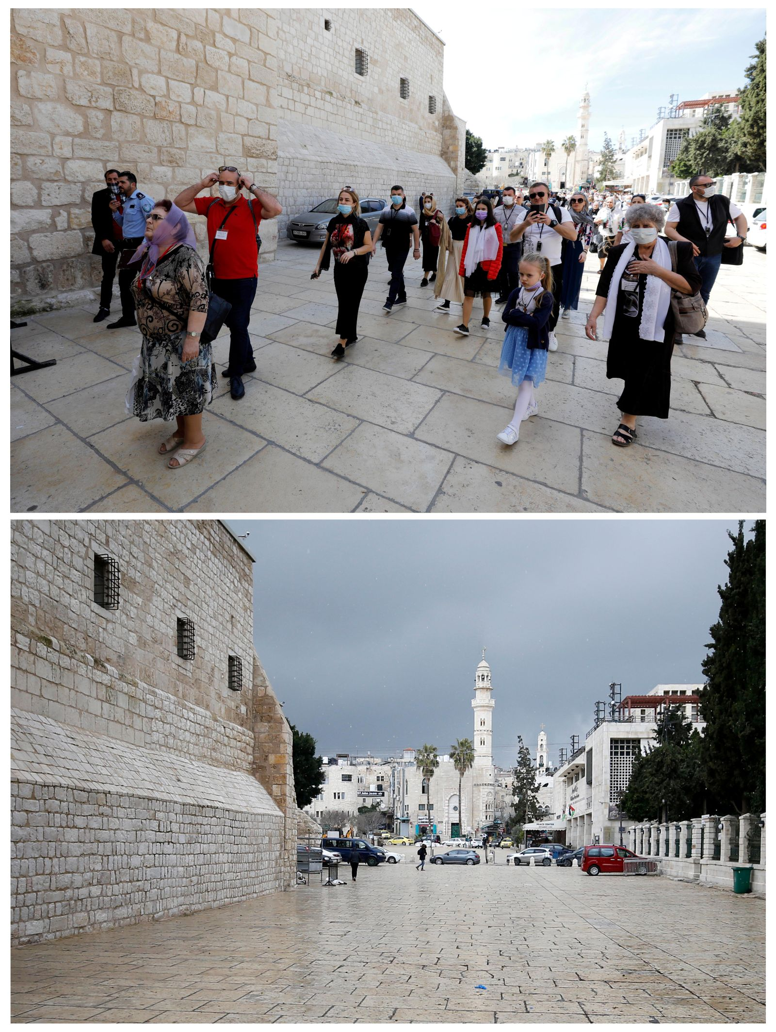 A combination picture shows human activity outside the Church of the Nativity in Bethlehem in the Israeli-occupied West Bank