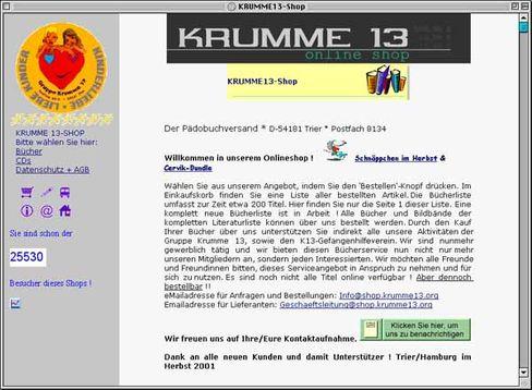 """Homepage des Pädophilenvereins """"Krumme 13"""": """"Ungerechte Gesetzeslage"""""""