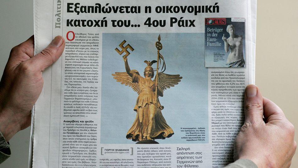 "Fotomontage in der Zeitung ""Eleftheros Typos"": ""Finanznazitum bedroht Europa"""
